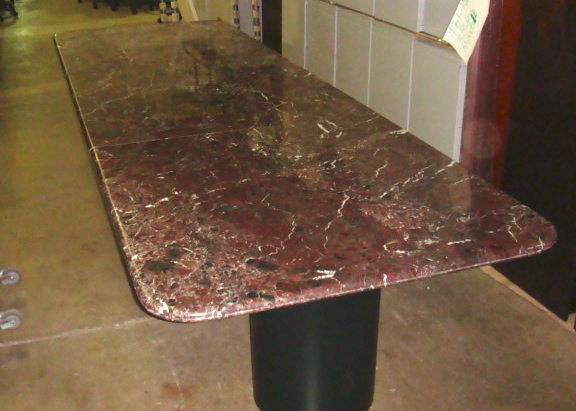12′ X 4′ Red Marble Conference Table