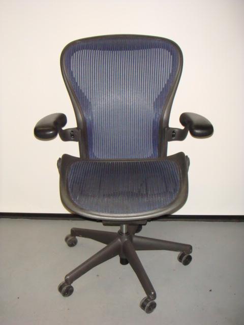 Herman Miller Aeron Chair Blue Mesh Used Office