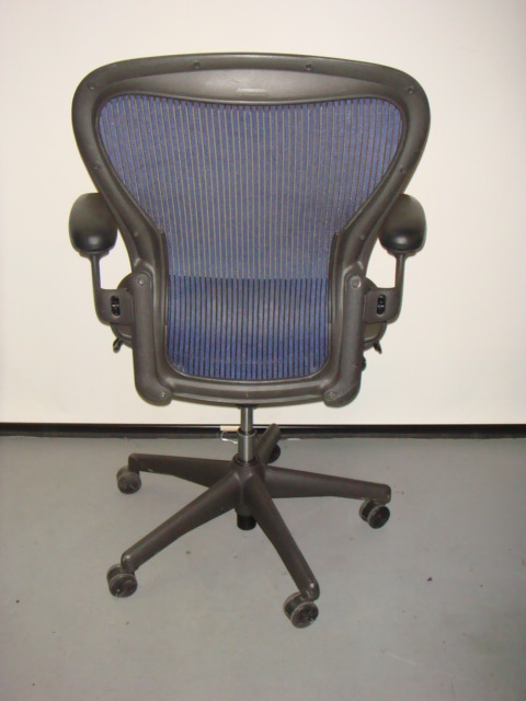 Herman Miller Aeron Chair Blue Mesh Used Office Furniture Dallas Preowned Office