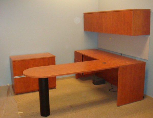 Bullet Top L Shape W Overhead Used Office Furniture