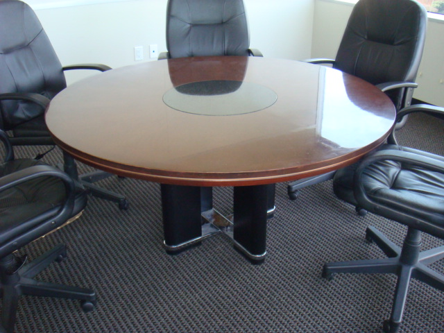 60u2033 Cherry/Granite Inlay Conference Table