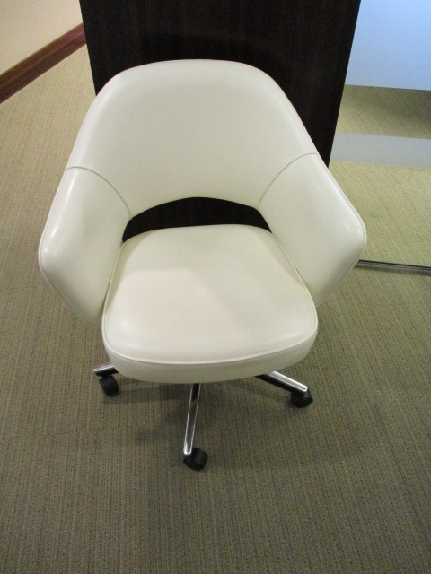 White Leather Rolling Chairs