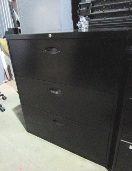 36″W 3 Drawer Lateral-black