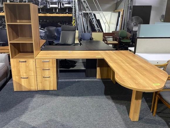 L Shape Desk & Cabinet Set